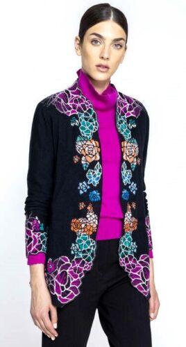 10/% Ivko lange Strickjacke Cardigan 38 und 42 Wolle schwarz pink Glasfenster