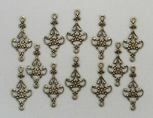 #1628 ANTIQUED SS//P OPEN FILIGREE 4 RING CONNECTOR 4 Pc Lot