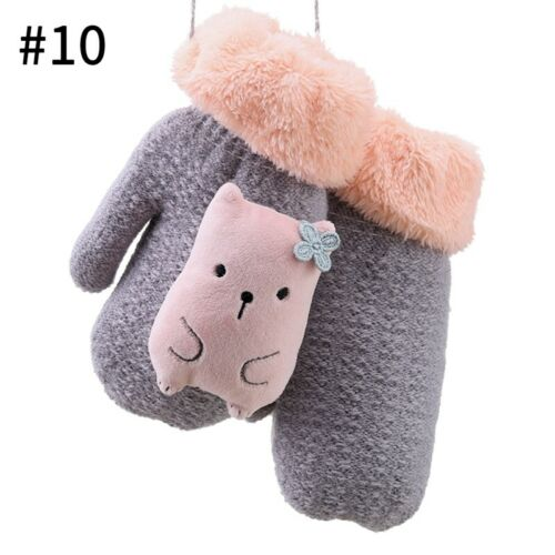 Childrens Winter Full Fingers Glovse Kids Cartoon Thermal Mittens Lanyard Gloves