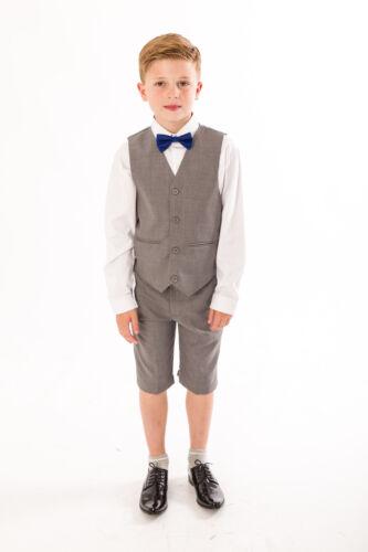 4 Piece Short Set Suit Boys Suits Grey Navy Suit Wedding Page boy Baby Boys