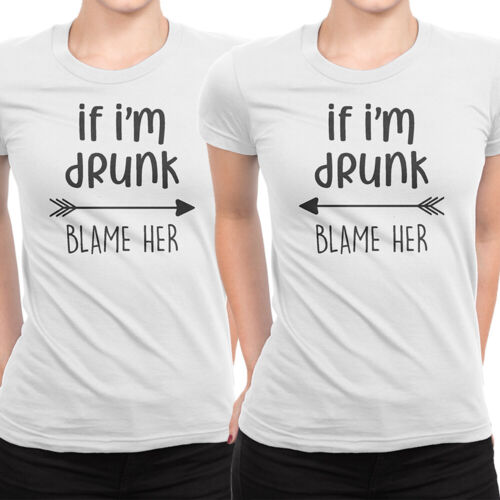 If I/'m Drunk Blame Her Arrow T Shirt Hen Do Party Bride Tribe Squad Team Tee Top