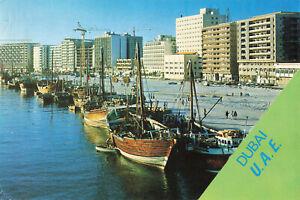 Rare Vintage Postcard - Deira Water/Building/Boat - Dubai U.A.E.