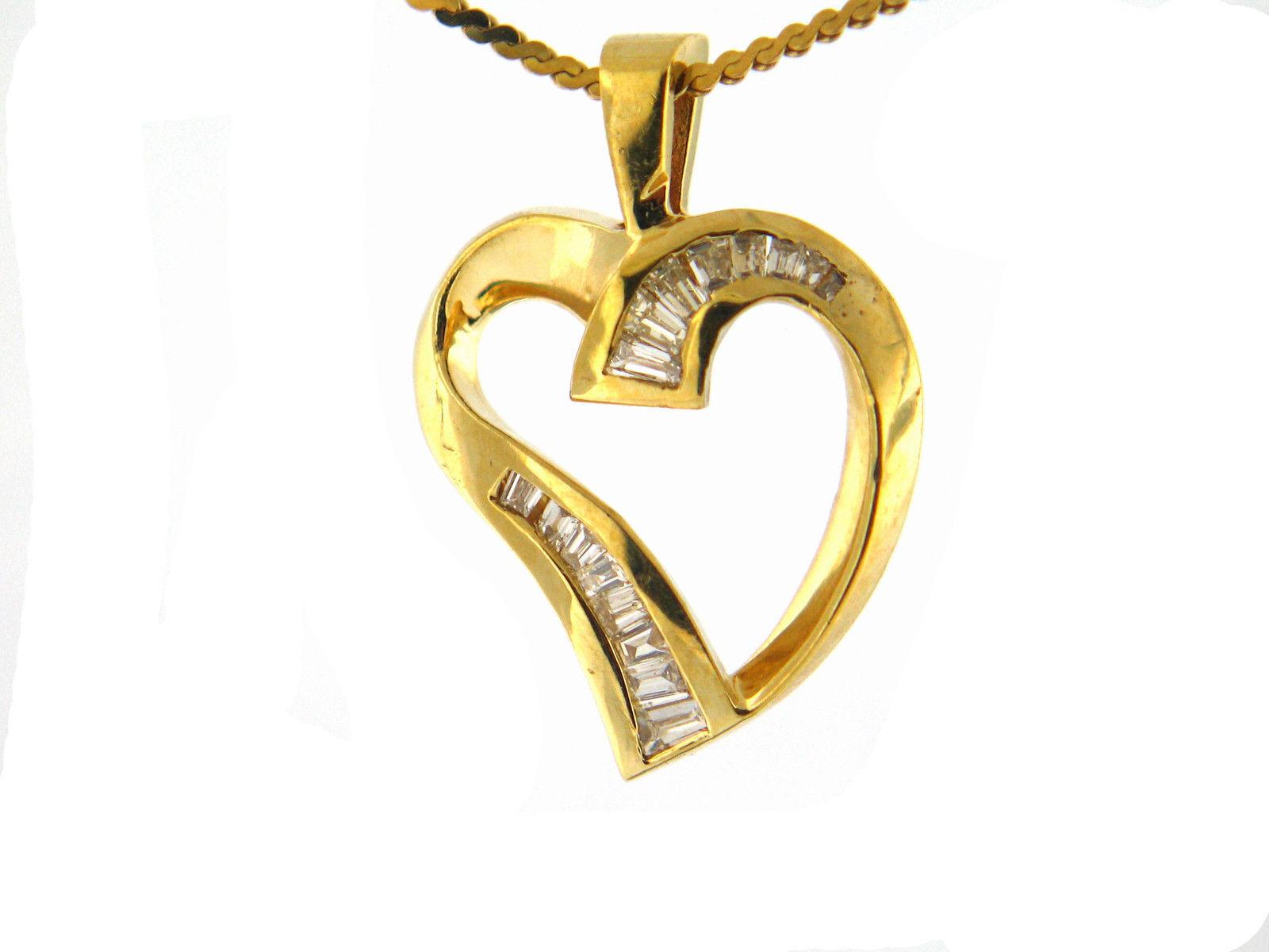 0.55 CT natural baguette cut diamond heart pendant VS G-H 14K yellow gold