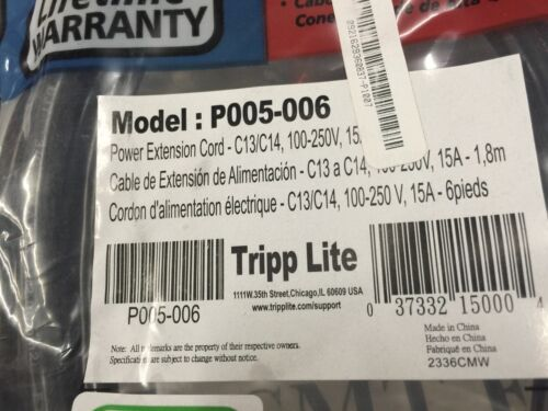 Pack of 10 Tripp-Lite Power Extension Cord Model P005-006 C13//C14 15A 6ft.