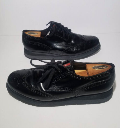 PRADA Black Leather Brogue Wingtip Oxfords Platfor