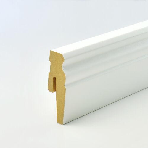 Sockelleisten MDF ab 10 Meter Fußleisten weiß Holz 80-120mm Hamburger Leisten