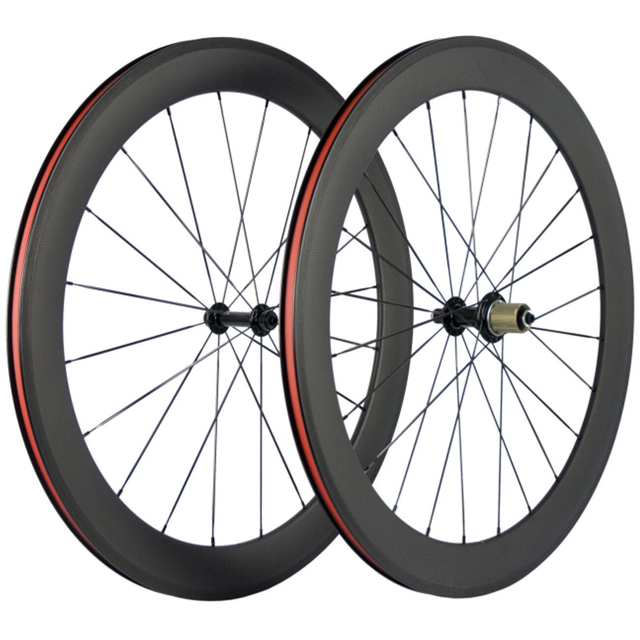 700C 60mm Carbon Wheelset Clincher  Bicycle  Wheels R13 Road Bike Wheel Handbuild  cheap wholesale