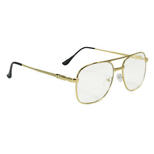 Adult-Men-039-s-Napoleon-Dynamite-Geek-Hippie-70-039-s-Show-Cosplay-Gold-Frame-Glasses