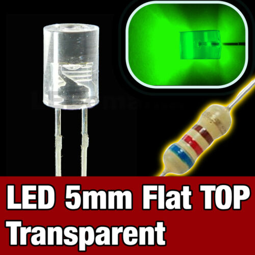 430V//10# LED 5mm cylindrique vert 10pcs Flat TOP LED green 10pcs