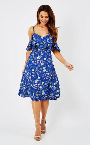 John Zack Blue  Floral Cold Shoulder Frill Dress