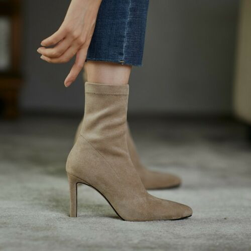 Details about  /Trendy Women/'s Pull On Stretch Pointy Toe Block High Heel Ankle Boots Party L