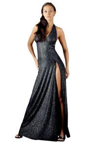 Langes 50 48 Abendkleid Glamour Strass Kleid Schwarz Xl Glitzer lcuTFK51J3