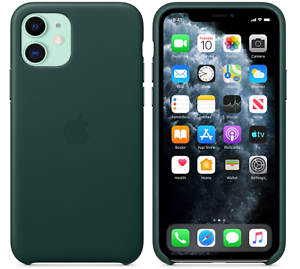 fur-iPhone-11-6-1-Apple-Echt-Original-Leder-Huelle-Leather-Case-Waldgruen-NEU