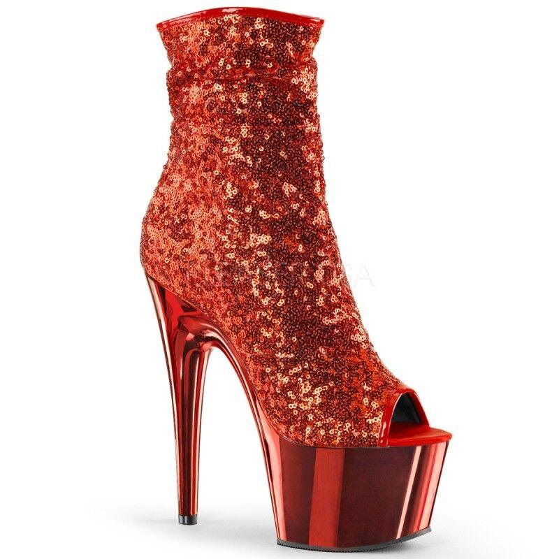 Pleaser Adore-1008SQ Ankle Stiefel schuhe Platform Stiletto High Heels Zip Zip Zip Sequins 49fc5d