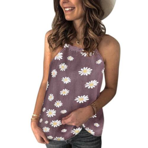 Womens Strappy Vest Ladies Summer Holiday T Shirt Cami Blouse Floral Casual Tops