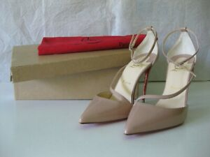 lowest price 9b25a 4a141 Details about $795 Christian Louboutin AUTH NIB Fliketta 100 Patent Leather  Pumps 39.5 Nude