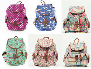 Ladies-Canvas-Lined-Rucksack-Back-Pack-Large-Flap-Over-Clasp-School-Bag-College