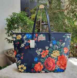 Cath Kidston Large Everyday Zip Tote Bag - Navy Blue Roses Print
