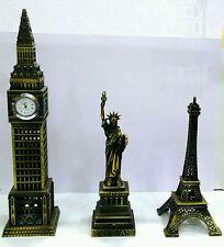 3 Iconic Heritage Vintage Showpiece   Big Ben  Statue of Liberty  Eiffel Tower