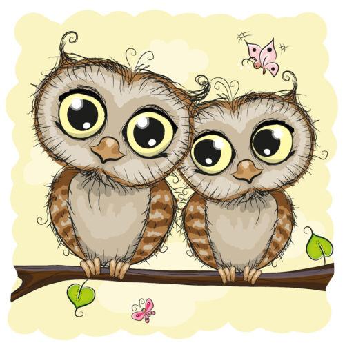 K05 Bügelbild Bügeltransfer Aufbügler Sweet Eule Owl Freunde friends DIN A4 A5