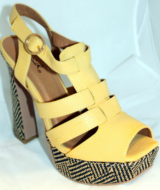Peep-toe Platform Strappy Sandals Yellow Tribal Pattern Block Heels Women Shoes