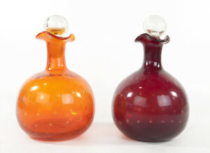 Mid-Century-Modern-MCM-Blown-Glass-Bullicante-Bubble-Orange-Red-Decanter