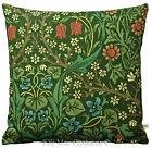 William Morris Federa Cuscino In Tessuto Rovi Neri Verde Design Vintage 50.8cm