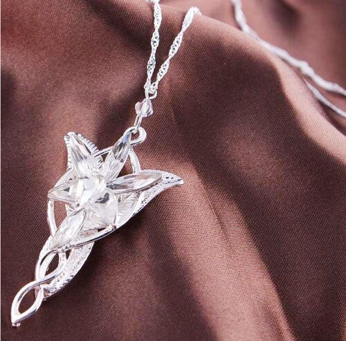 Le Seigneur des Anneaux Elfe princesse Aragorn Arwen Silver Evenstar Collier Pendentif