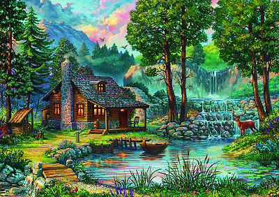 Jigsaw Puzzle 1000 Piece 27.5in X 19.5in BRAND NEW Beautiful Lakeside Scenery