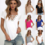 Sexy-Fashion-Women-V-Neck-Short-Sleeve-T-shirt-Casual-Loose-Blouse-Tops-Tee-2019 thumbnail 2