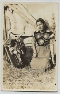 1946-Vermillion-Chippewa-Squaw-amp-Papoose-Teepee-Beadwork-Real-Photo-RPPC