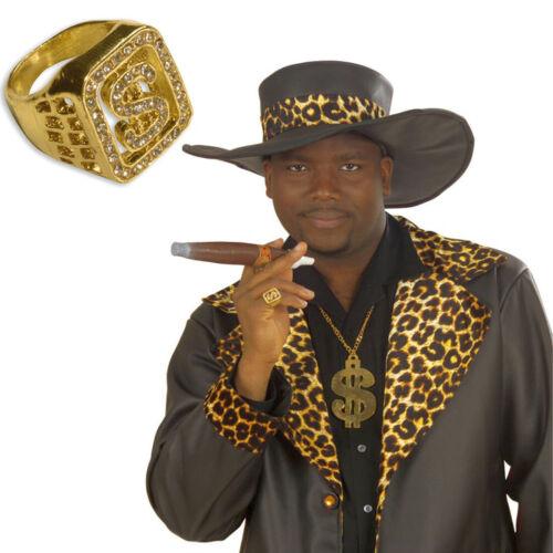 Diamant Ring Dollar Partyschmuck Dollarring Pimp Kostüm Accessoires Fingerring