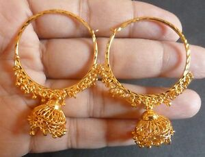 Gold Plated India very cute wedding Ring Jhumki Jhumka Earrings