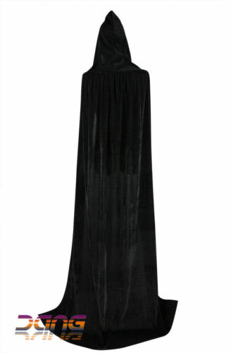 Cloak Dress Unisex Long Velvet Black Hooded Cloak Cape Deluxe Vampire Halloween