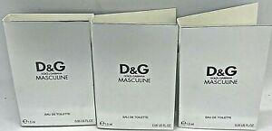 💝 Dolce & Gabbana D&G Masculine EdT Parfumproben 3 x 1,5 ml OVP/NEU Rarität