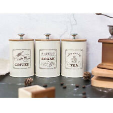 Set of 3 Retro Tea Coffee Sugar Canisters Container Pot Tin Iron with Lid