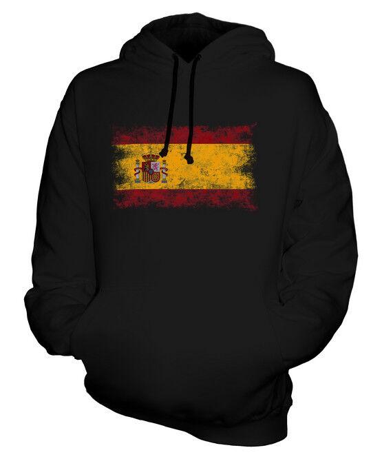 SPAIN DISTRESSED FLAG UNISEX HOODIE TOP ESPANA ESPAINIA ESPANYA SPANISH ESPANHA