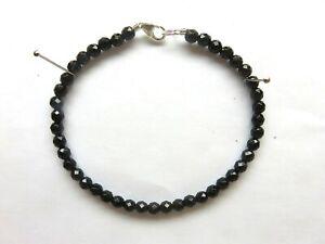 Onyx-facettiert-Armband-19-cm-925-Silber-Black-Onyx-Bracelet-6058
