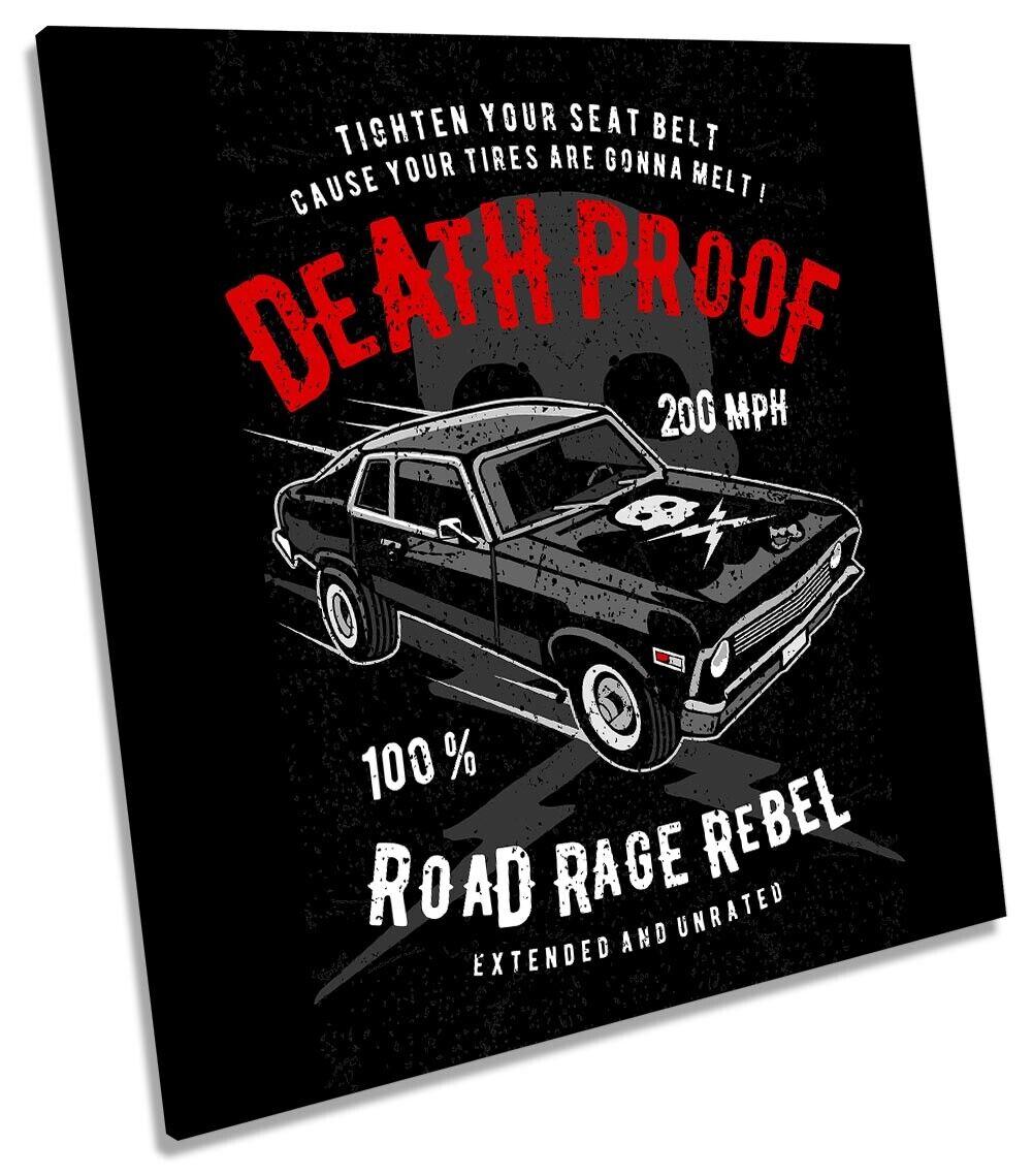 Death PROOF Road Rage Rebel Auto Foto A Muro Art SQUARE Stampa