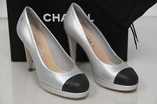 NEW CHANEL Metallic Silver Black Leather Cap Toe Platform Heel Pump Shoe Sz 40