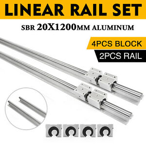 SBR20-1200mm-LINEAR-SLIDE-GUIDE-SHAFT-2-RAIL-4-SBR20UU-Bearing-Block-CNC-Sets