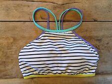 """Happy Stripe SMALL Victoria's Secret """"STRAPPY HIGH NECK"""" Bikini Swimsuit TOP"""