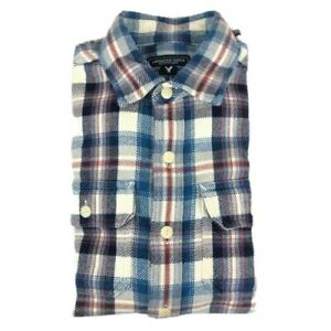 American-Eagle-Mens-Shirt-Flannel-Casual-Multi-Check-Long-Sleeve-Cotton-Size-XS