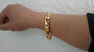 """Cheap Price Blgiftshop Lifetime Sg1207 9"""" 18carat Gold Plated Figaro Men's Bracelet Jewelry & Watches Fashion Jewelry"""