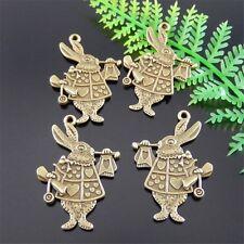 30pcs Antiqud Bronze Alloy Cute Rabbit Charms Pendant Necklace Jewelry Making