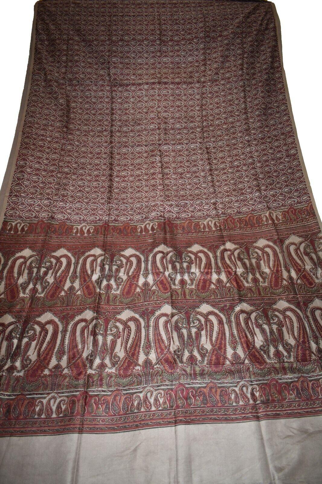 Vintage Printed Saree Brown100% Pure Silk Floral Print Sari Design Craft PR4001