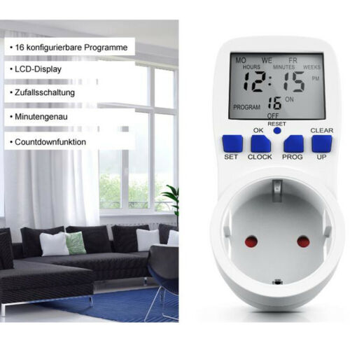 Zeitschaltuhr digital Steckdose Digitale Wochenzeitschaltuhr 2200W Timer Innen