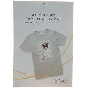 2-X-A4-T-SHIRT-TRANSFER-PAPER-IRON-ON-LIGHT-FABRICS-HEAT-PRESS-INKJET-PRINT