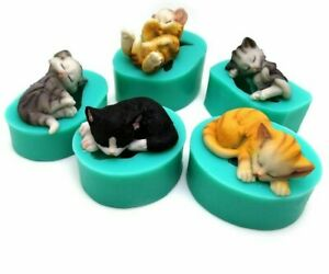 Lovely-Cat-chocolat-Sugarcraft-moules-3D-CHATONS-silicone-fondant-cake-molds