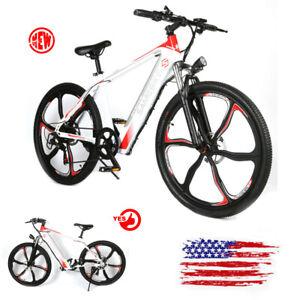 26'' Electric Bike Mountain Bicycle City Moped E-Bike 36V Li-Battery White US